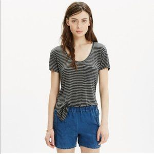 Madewell Anthem Scoop Neck Tee In Mini Stripe